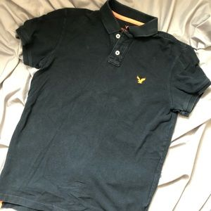 American Eagle Classic Fit Polo S Navy Blue Cotton